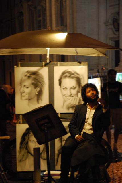 Visit Rome_night_Piazza navona_Painters 3_01
