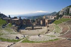 The Greek theater and mount Etna