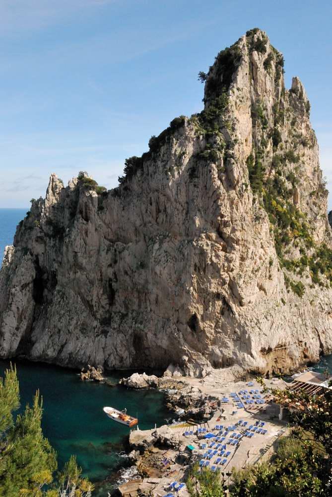 """The Faraglioni and the Da Luigi restaurant and """"beach"""""""