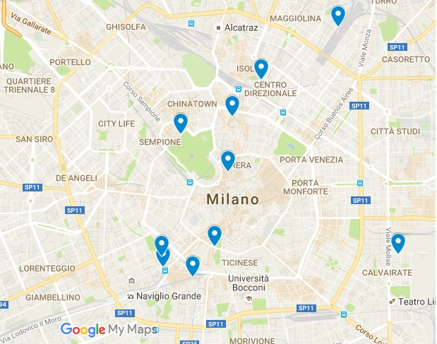 Milan 10 best restaurants map